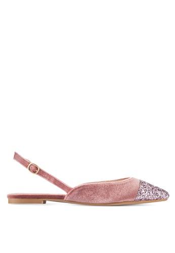 ZALORA pink Velvet Slingback Flats With Glitter 3C7A4SHCD64290GS_1