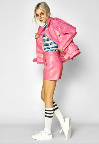 zalora 泳衣手工刺繡拉鍊仿皮騎士外套, 服飾, 皮革外套