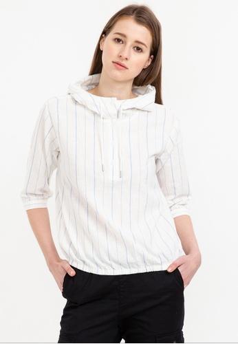 Bossini white 3/4 Sleeve Hooded Blouse D58F5AA1FAA580GS_1