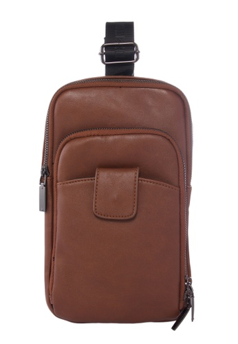 KRIZO brown LEXQ Men's Shoulder Sling Chest Pouch Bag 0EBFAACBE71B97GS_1