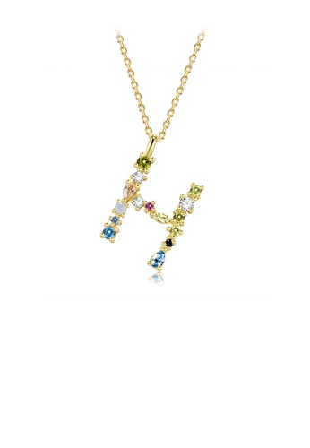 Glamorousky silver 925 Sterling Silver Plated Gold Fashion Simple Color English Alphabet H Pendant with Cubic Zirconia and Necklace 4B847AC6410234GS_1