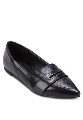 Cathy 蛇紋拼接尖頭平底鞋esprit童裝門市, 女鞋, 芭蕾平底鞋