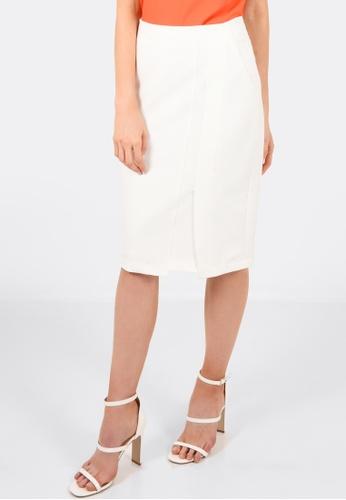FORCAST white Camilla Panel Split Skirt FO347AA0GOZHSG_1