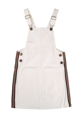 FOX Kids & Baby white Side Stripes Denim Dungaree Dress D03ECKA9F97F8CGS_1