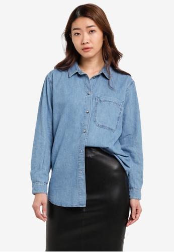 TOPSHOP blue Moto Oversized Denim Shirt TO412AA0S2ZMMY_1