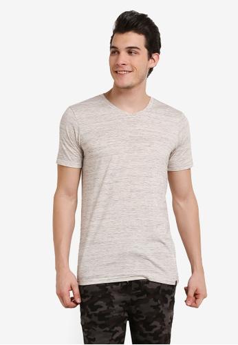 Factorie beige The Legacy Vee T-Shirt FA880AA0RH38MY_1