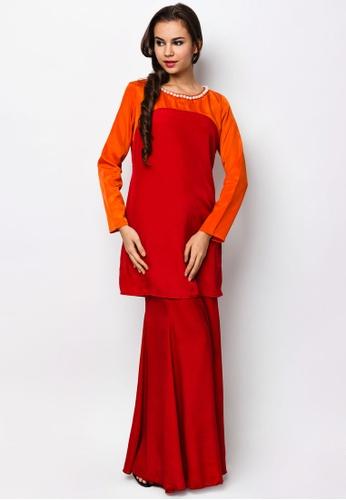 Samhana Color Block Baju Kurung from LUXE by Ethnic Chic in Orange
