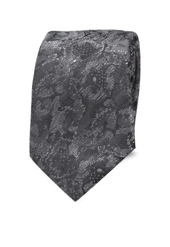 Burton Menswear London grey Charcoal Floral Tie BU964AC0SD1RMY_1