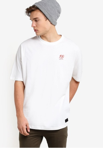 Flesh IMP white Hundred Embroidery Oversized T-Shirt FL064AA97NXUMY_1