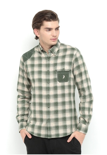 POLO HAUS multi Polo Haus - Woven Shirt (Green/Brown) PO783AA69WIGMY_1