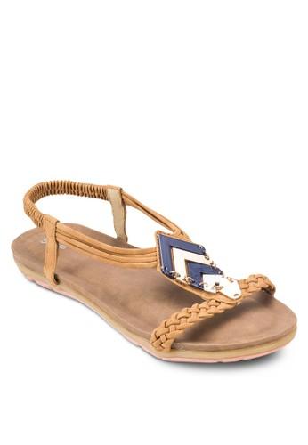 編織帶閃飾繞踝涼鞋, 女鞋, salon esprit 香港鞋