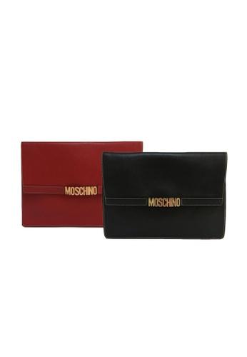 MOSCHINO black MOSCHINO LOGO CLUTCH COUPLE SET 51FD1AC716369FGS_1