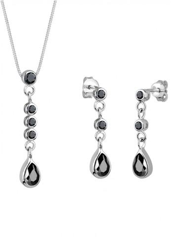 Elli Germany black Perhiasan Wanita Perak Asli - Silver Perhiasan Set Glamor Zirconia Black Hitam AB11AACAE8AB37GS_1