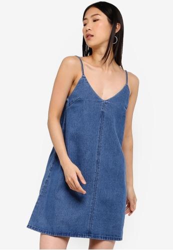 ZALORA BASICS blue Basic Denim Strap Shift Dress 29CDEAA5849996GS_1