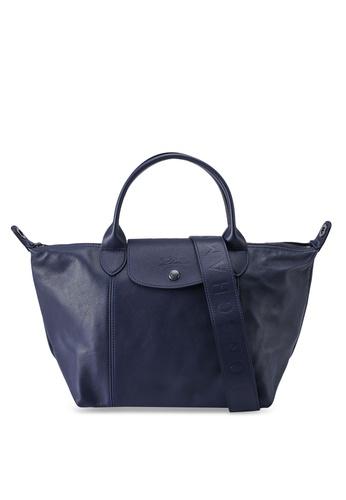 Longchamp blue Le Pliage Cuir Top Handle Bag S (nt) 39DF2ACEC21BC2GS_1