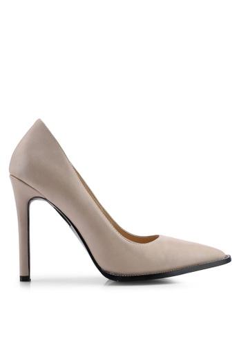 Public Desire 米褐色 Badgal 鉚釘高跟鞋 D36BDSH07B58A6GS_1