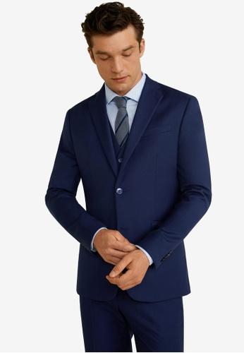 Mango Man 藍色 修身西裝外套 7B91BAAA1A0AA3GS_1