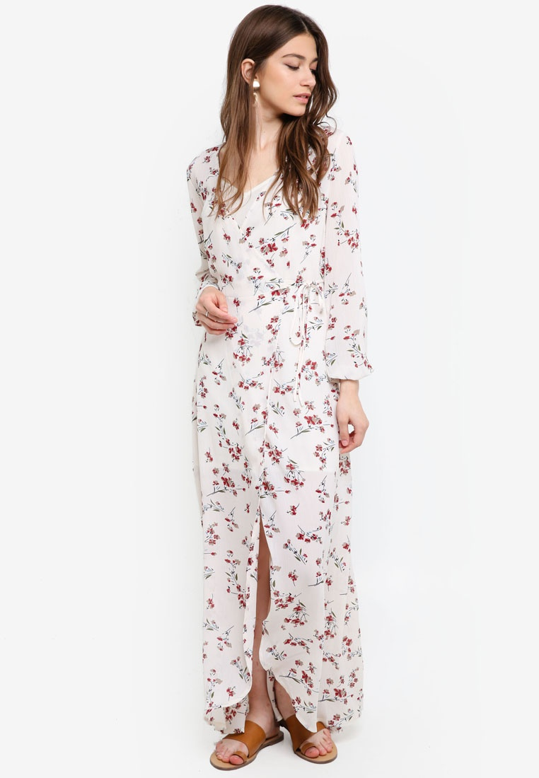Print White Wrap Dress in Based Maxi 1 Something 2 Borrowed 6Zz0fqw0x