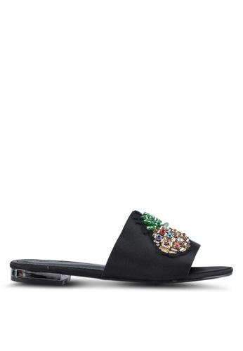 Something Borrowed black Pineapple Applique Sandals F697CSHD1978BAGS_1