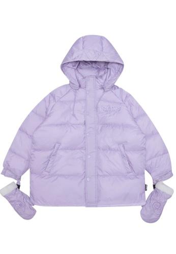 Mini cream purple Hooded down jacket with gloves AA5CDAA8247879GS_1