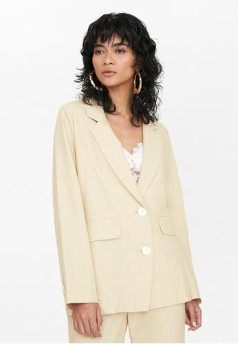 Pomelo multi Oversized Front Pockets Blazer - Beige 6846CAA716B53EGS_1