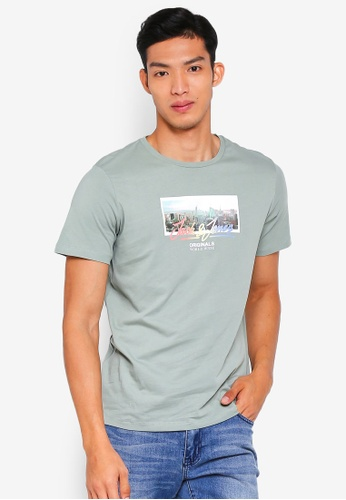 Jack & Jones 綠色 休閒印花T恤 6607FAA9A308DFGS_1