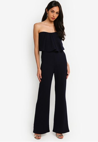 a21b555742 MISSGUIDED navy Petite Bandeau Frill Wide Leg Jumpsuit F7858AAF727C07GS 1