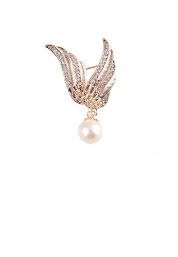 Glamorousky white Fashion and Elegant Plated Gold Angel Wings Imitation Pearl Brooch with Cubic Zirconia 6CDEFAC1D62775GS_1