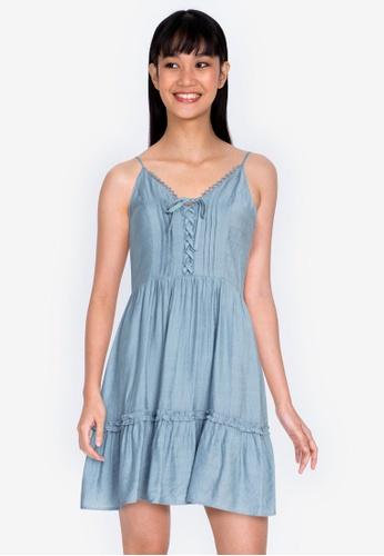 ZALORA BASICS blue Lace Trim Plunge Neck Dress 45AF6AAA357809GS_1