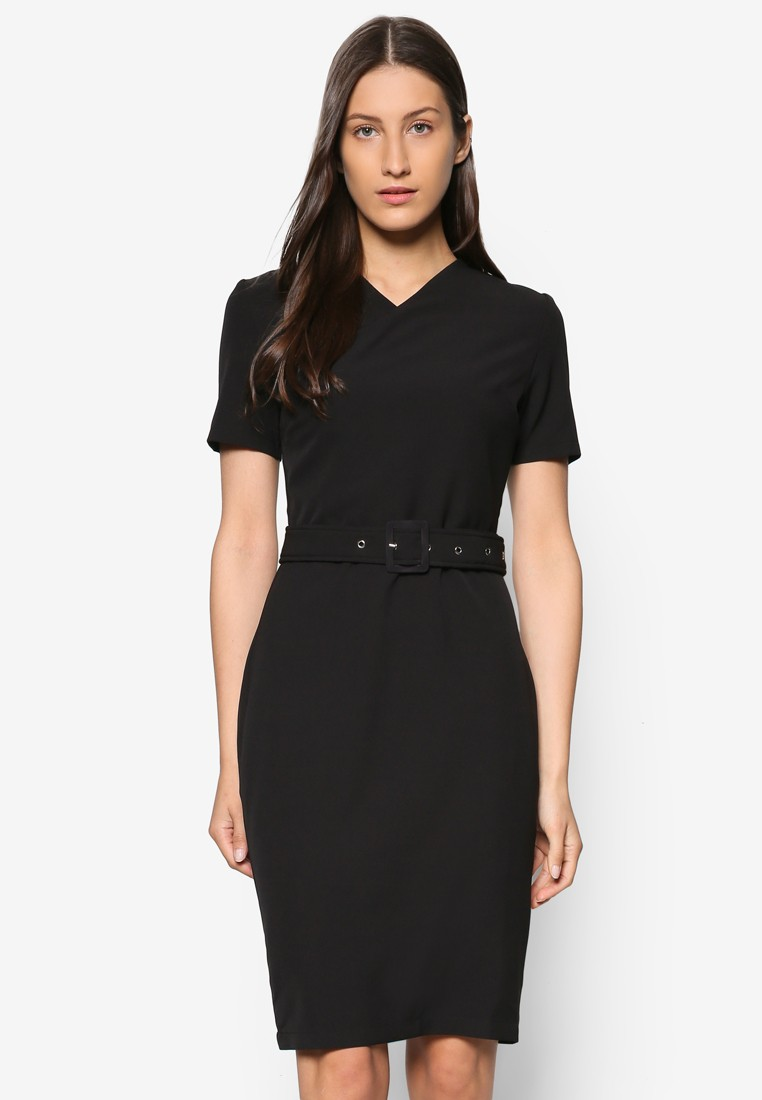 Collection Wrap Front Belted Dress