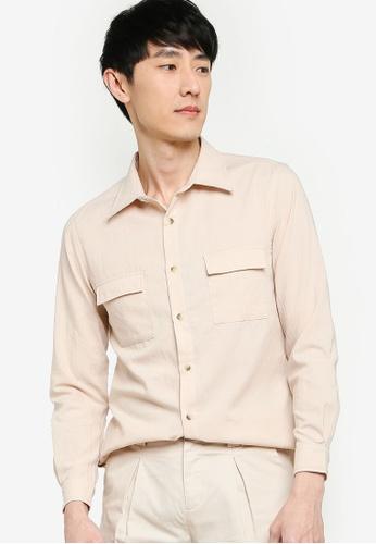 ZALORA BASICS 米褐色 Flap Pocket Long Sleeve Shirt AC17FAA5BF1260GS_1