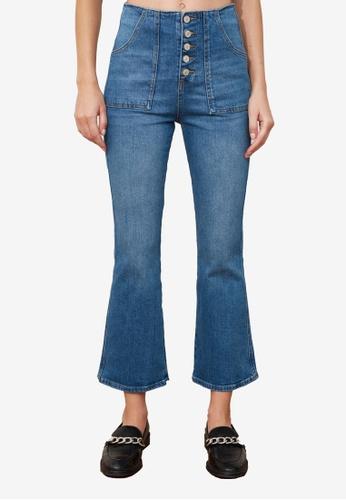Trendyol navy High Waist Flare Jeans 9AFBBAA449B5F9GS_1