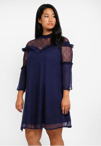 LOST INK PLUS navy Plus Size Swing Dress With Lace Panel LO776AA0T1SMMY_1