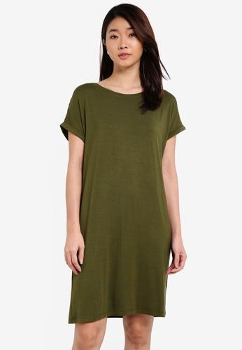 ZALORA green Basic Crew Neck T-shirt Dress B6140ZZ870820AGS_1