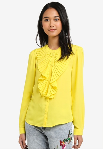 ONLY yellow Milan Pleated Flounce Top 89BCCAA3E2A33FGS_1