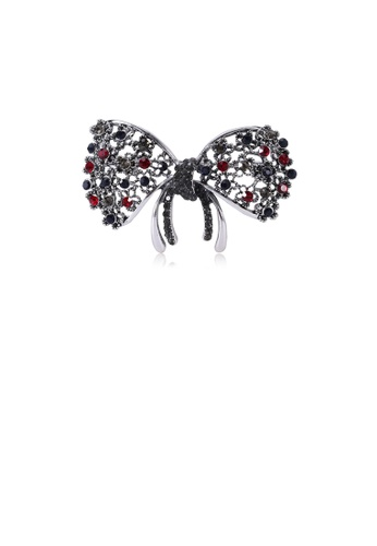 Glamorousky silver Fashion and Elegant Color Ribbon Brooch with Cubic Zirconia 4F6B6ACB0BB312GS_1
