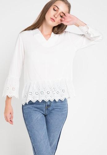 GRAPHIS white Long Sleeve Blouse 6A755AA1E844B5GS_1