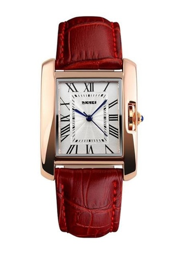 Skmei red SKMEI 1085 Ladies's Classic Rectangle Dial Leather Watch (Gold Red) SK707AC0RX1VMY_1
