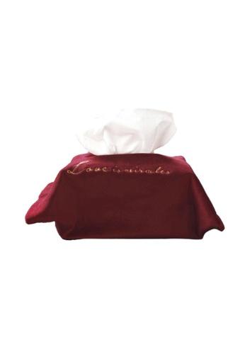 DILAS HOME Miracle Velvet Tissue Holder (Wine Red) 5945EHL11F91DAGS_1