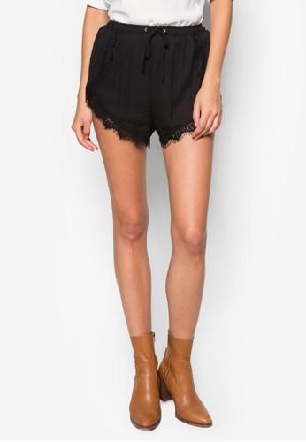 蕾絲邊飾束口短褲, zalora退貨服飾, 短褲