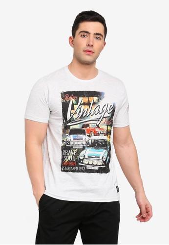 Brave Soul white Cowley Print T-Shirt 86270AA1EAB66EGS_1
