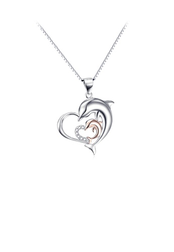 Glamorousky white 925 Sterling Silver Fashion and Elegant Dolphin Mother and Child Heart Pendant with Cubic Zirconia and Necklace 44FBEACEC31B6AGS_1