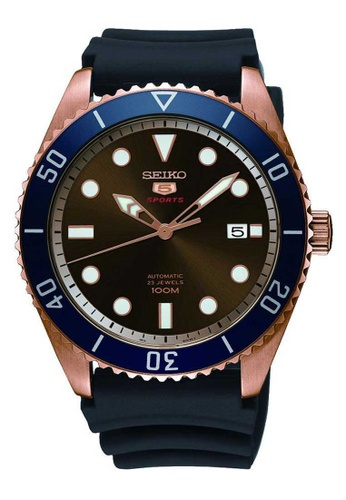 Seiko 5 Sports Blue Rose Gold And Black Rubber Watch