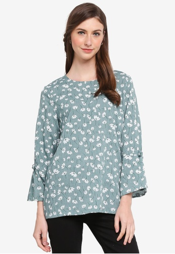 TOPGIRL green Ribbon Detail Floral Blouse 3C739AABA7D436GS_1