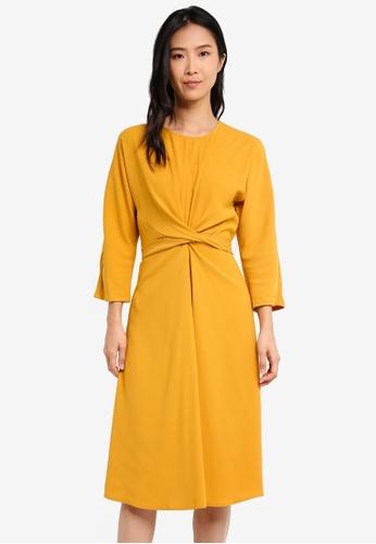 WAREHOUSE yellow Twist Front Dress WA653AA0SYJKMY_1