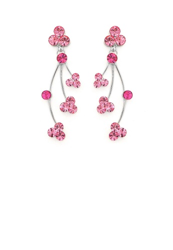 Glamorousky silver Elegant Rainbow Earrings with Pink Austrian Element Crystals 16A01AC3F3C63BGS_1
