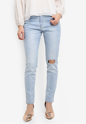Something Borrowed blue Mid Rise Slashed Skinny Jeans 8EC72AAC336912GS_1
