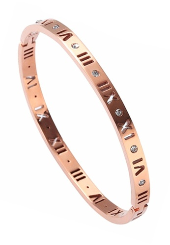YOUNIQ YOUNIQ Slim Romans 18K Rosegold Titanium Bangle YO999AC0S8RHMY_1