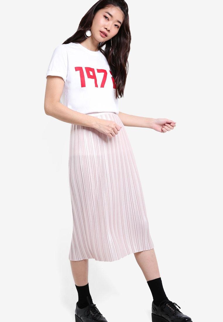 80ce125786 Topshop Metallic Jersey Pleated Skirt