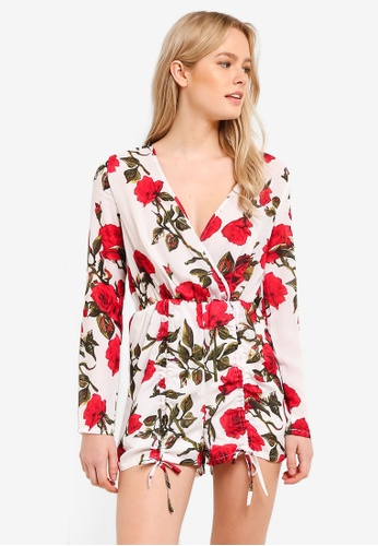 MISSGUIDED white White Rose Print Gathered Short Playsuit MI511AA0RKA9MY_1